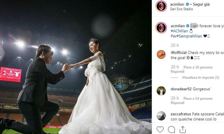 Milan, matrimonio a San Siro prima della Lazio: FOTO su Instagram, tifosi imbufaliti e tanti like