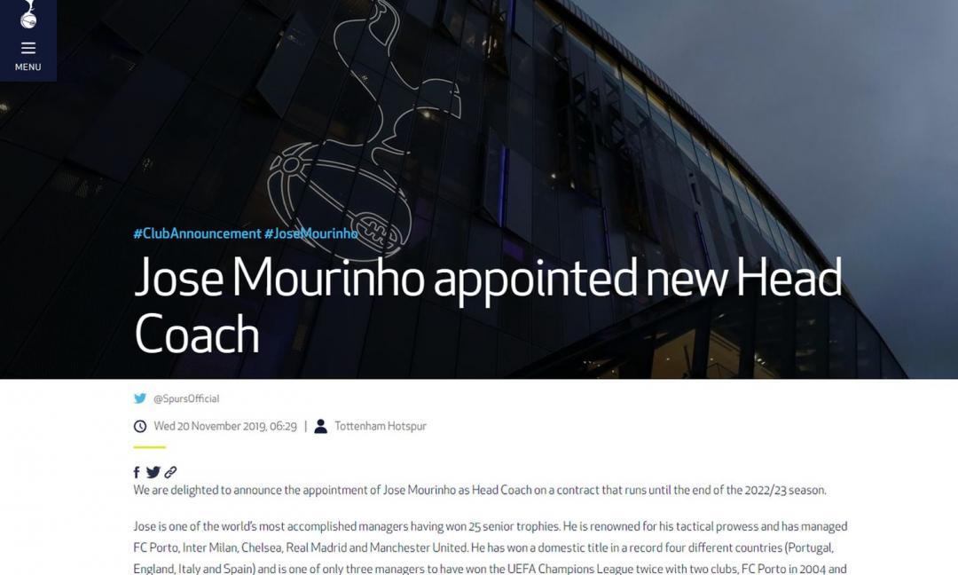 Il Tottenham punta in grande: con Mou obiettivo Champions