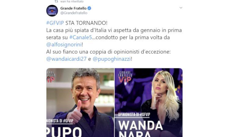 UFFICIALE, Wanda Nara opinionista al Grande Fratello VIP: 'Signorini grazie, felice di lavorare con Pupo'