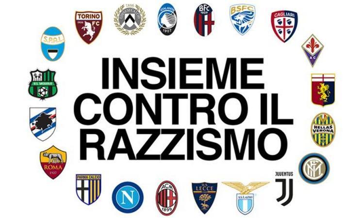 Lettera dei 20 club di Serie A contro il razzismo: 'Non abbiamo combattuto a sufficienza, è motivo di vergogna'