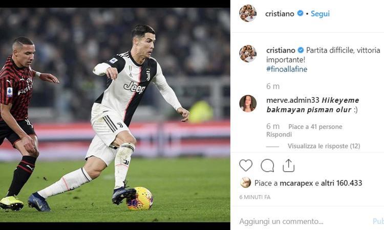 Cristiano Ronaldo, parole pro Juve: 'Partita difficile, vittoria importante! #finoallafine'