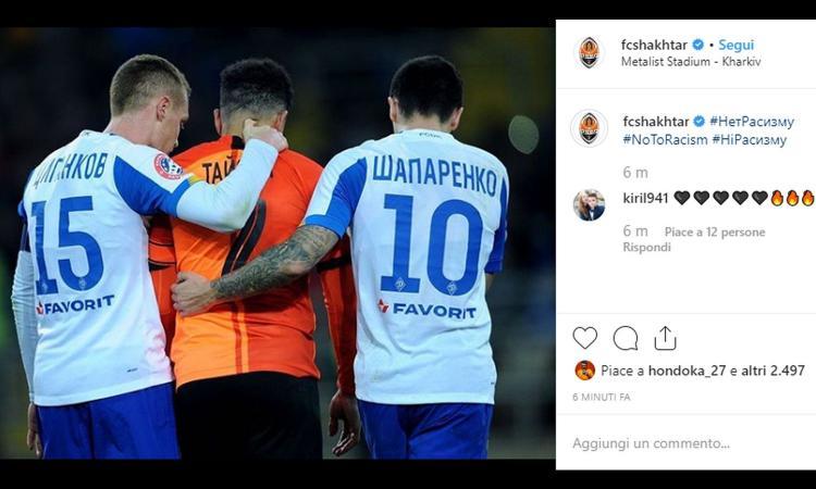 Razzismo in Shakthar-Dinamo Kiev, Taison come Balotelli: partita sospesa, pallone in tribuna e... rosso
