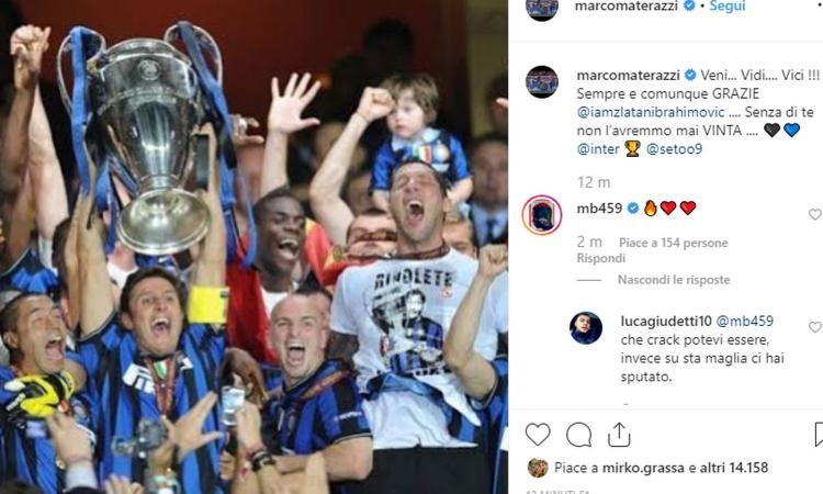 Materazzi risponde a Ibra: 'Grazie Zlatan, senza di te non avremmo mai vinto la Champions!'