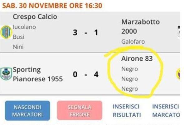 Razzismo nel bolognese, club Juniores denuncia: 'Tabellino modificato con la parola 'negro''