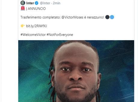 Inter, il numero di maglia scelto da Moses