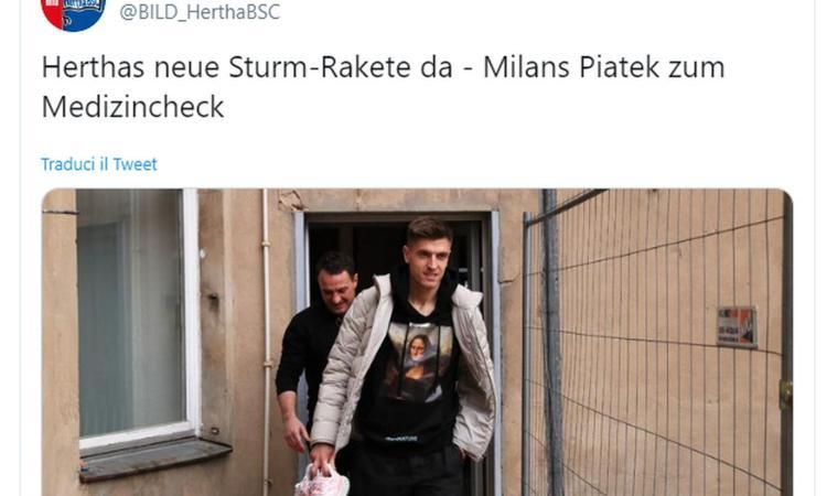 Milan, Piatek all'Hertha Berlino: iniziate le visite mediche