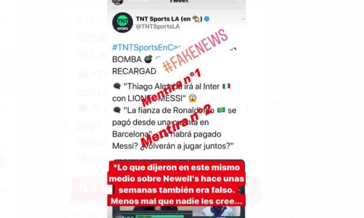 Messi-Inter, la smentita su Instagram: 'Bugia'