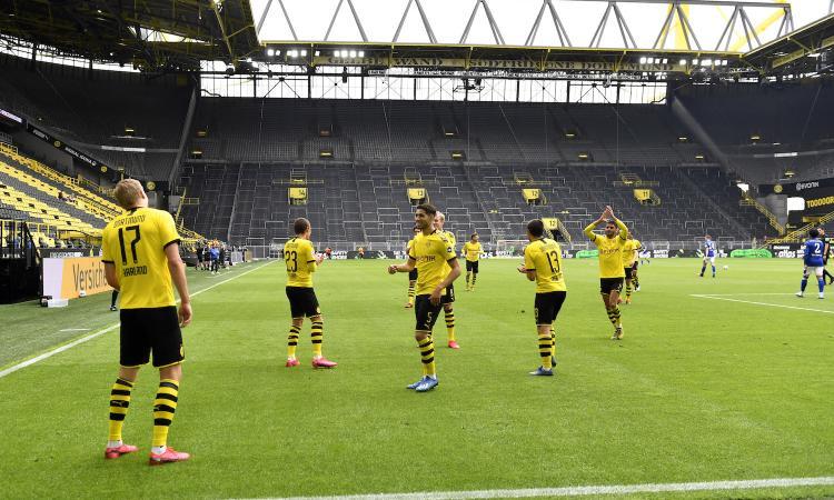 È di Haaland il primo gol al virus. Poi il Borussia Dortmund travolge lo Schalke con un poker