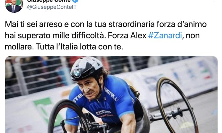 Zanardi, il sostegno dei social: 'Dai Alex, non mollare'. Il Premier Conte: 'L'Italia è con te'. Tutti i messaggi