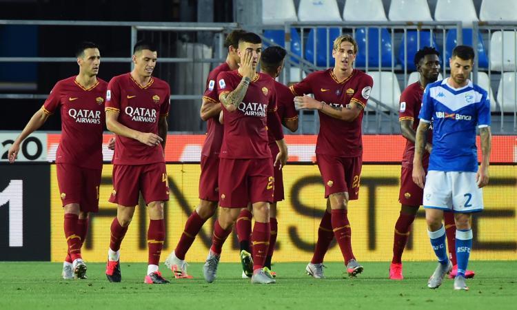 Zaniolo torna al gol nel 3-0 della Roma, Brescia verso la B