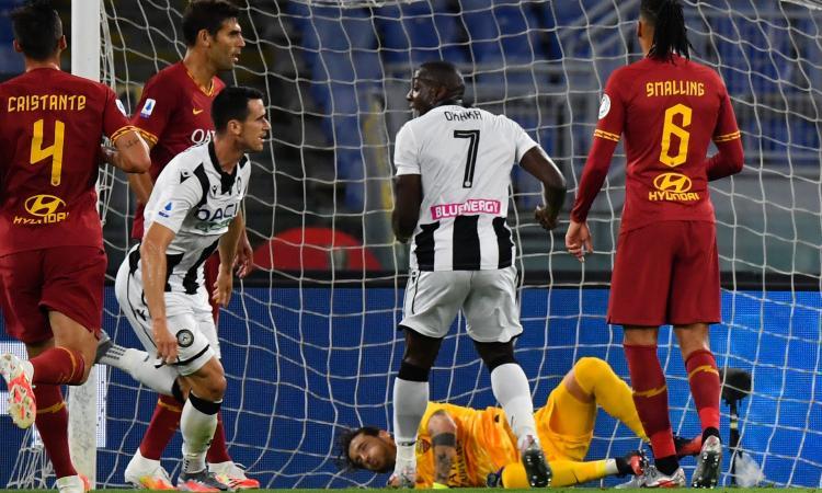 Roma a -12 dall'Atalanta: addio Champions, Lasagna e Nestorovski lanciano l'Udinese