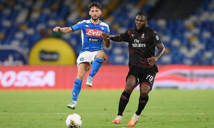 Kessie riacciuffa Mertens, il Milan tiene in dieci: 2-2 a Napoli