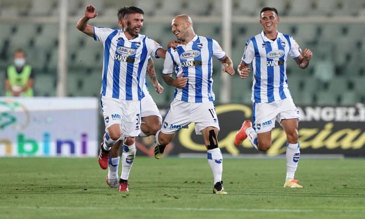 Playout Serie B, il Pescara ribalta il Perugia: 2-1 con Galano-Maniero, venerdì il ritorno