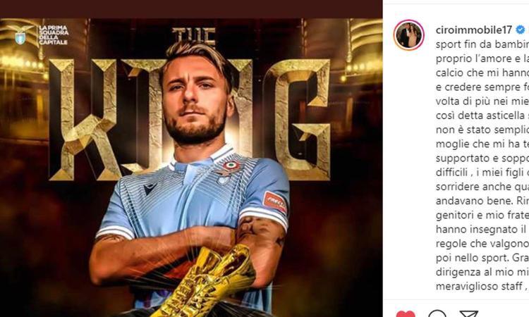 Immobile si incorona 'The King': ecco la sua lettera d'amore al calcio