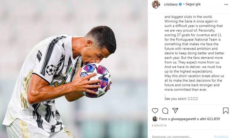 Juve, Ronaldo sibillino: 'Tempo di riflessioni, i tifosi si aspettano di più. Ora le giuste decisioni per il futuro'