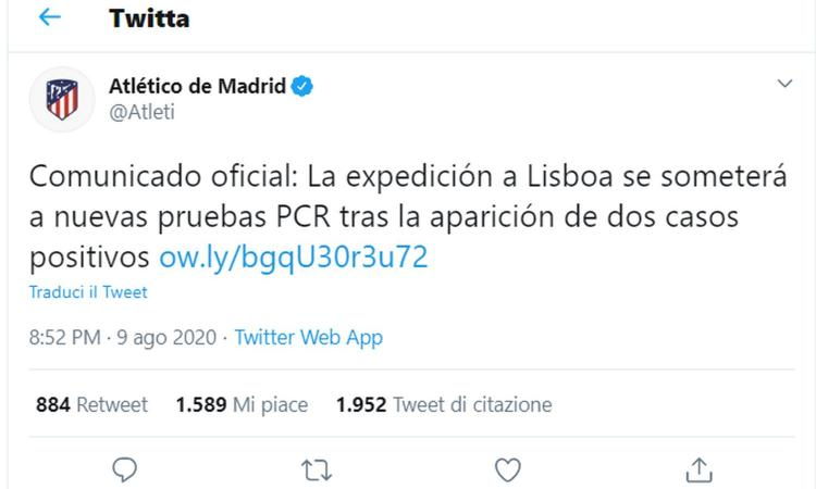 Atletico Madrid, UFFICIALE: due casi positivi al coronavirus, a rischio la partita col Lipsia?