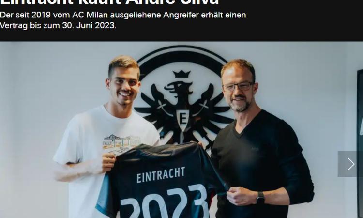 Milan, UFFICIALE: André Silva all'Eintracht Francoforte a titolo definitivo