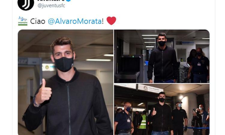 Niente Dzeko, la Juve vira su Morata: è atterrato a Torino, in mattinata le visite FOTO e VIDEO