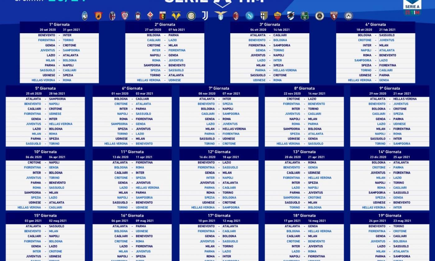 Serie A, tutto il calendario: la Juve parte con la Samp, il Milan