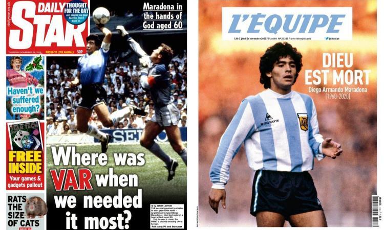 'Dio è morto', 'AD10S', 'Celeste', 'Nelle mani di Dio', 'Dov'era il Var quando ne avevamo bisogno?': le prime pagine dei giornali su Maradona