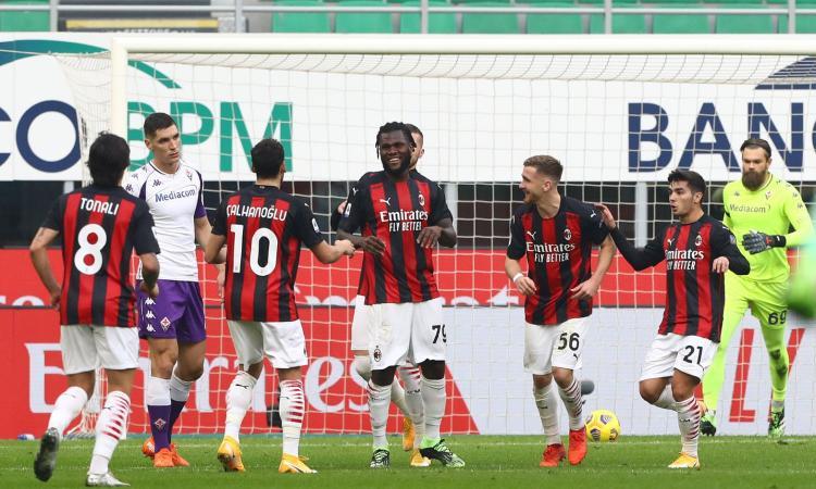 2-0 alla Fiorentina senza Ibra: il Milan allunga in vetta, +5 su Inter e Sassuolo