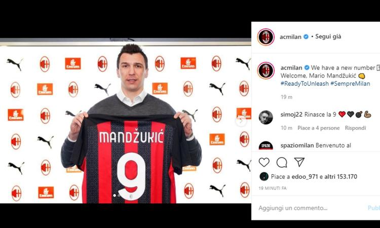 Milan, Mandzukic: 'Non mi preoccupa la 9. Sono pronto per giocare, è importante incutere timore agli avversari. Sulla Juve...'