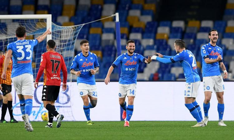 Napoli-Benevento 2-0: il tabellino