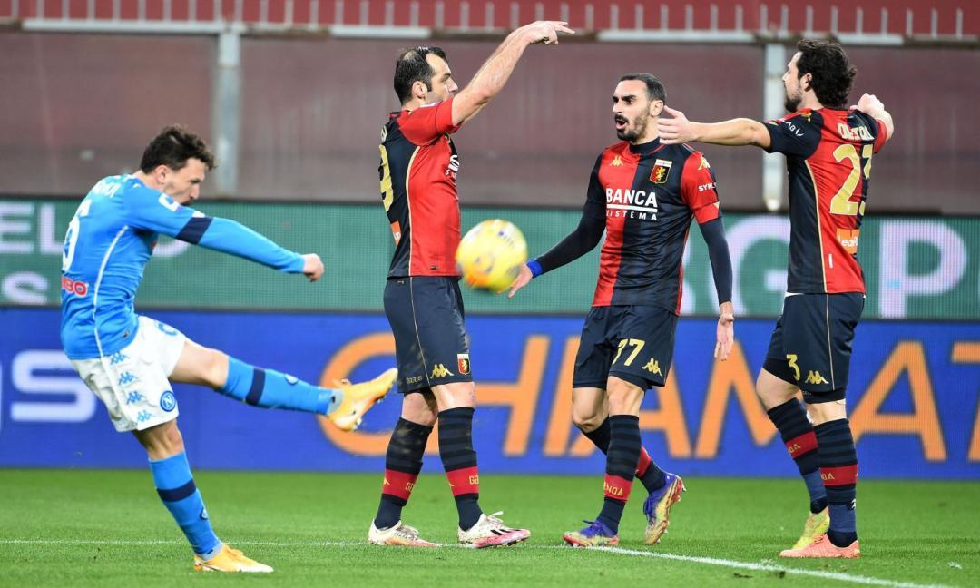 Il Genoa batte il Napoli 2-1: Pandev, Perin e la sfortuna...