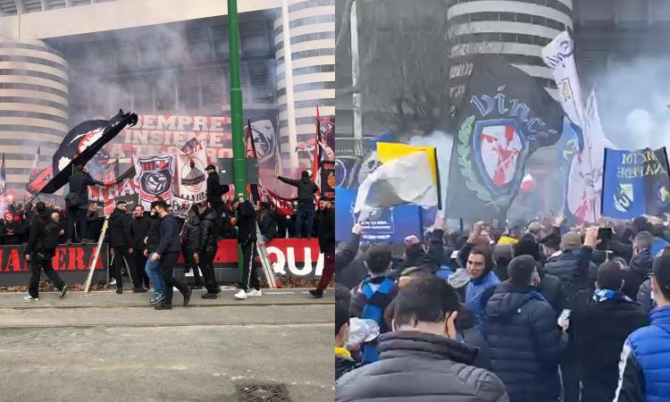Milan-Inter: cori, bandiere e striscioni, la carica di oltre 4.000 tifosi e gli assembramenti all'esterno di San Siro FOTO e VIDEO
