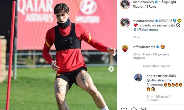 Roma, Zaniolo in campo con la palla: 'Quanto mi sei mancata!'