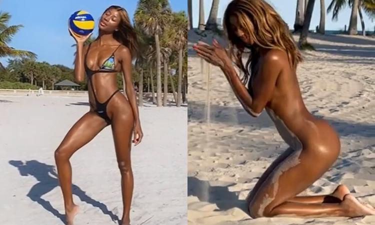 Jazzma Kendrik esagerata. FOTO e VIDEO completamente nuda in spiaggia in Florida