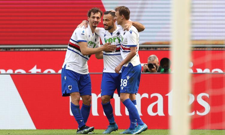 Il Milan rallenta: 1-1 con la Sampdoria, Hauge risponde a Quagliarella