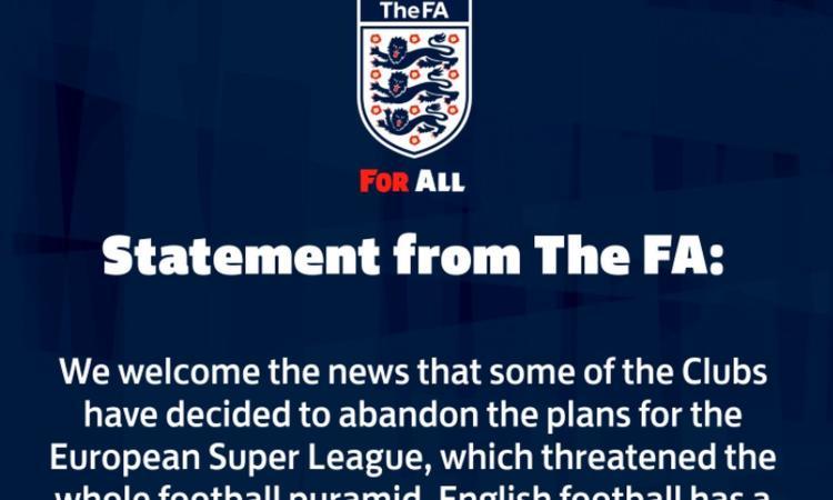 Superlega, la Football Association: 'Felici che alcuni club abbandonino il progetto, il calcio sarà sempre dei tifosi'