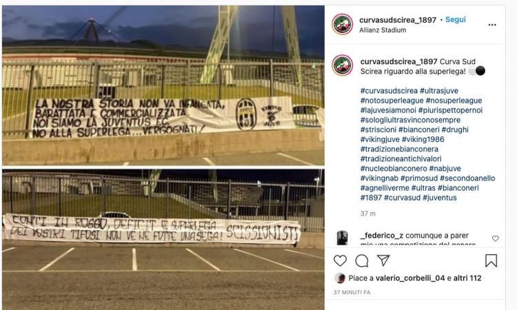 Superlega, la protesta dei tifosi della Juve fuori dallo Stadium: 'La nostra storia infangata, vergogna!'