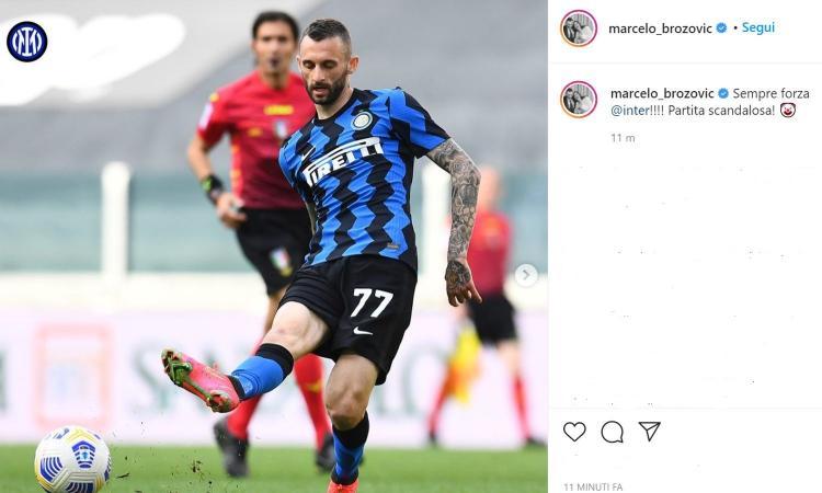 Brozovic attacca: 'Sempre forza Inter. Con la Juve partita scandalosa'. Con l'emoticon di un pagliaccio