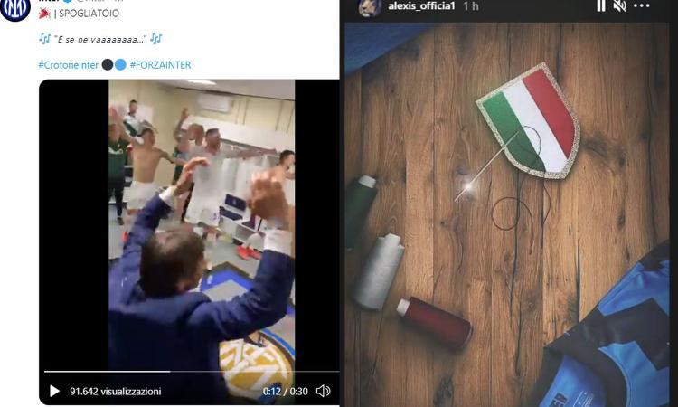 'La capolista se ne va': la festa Inter è già iniziata, Conte scatenato in spogliatoio! E Sanchez prende ago e filo VIDEO