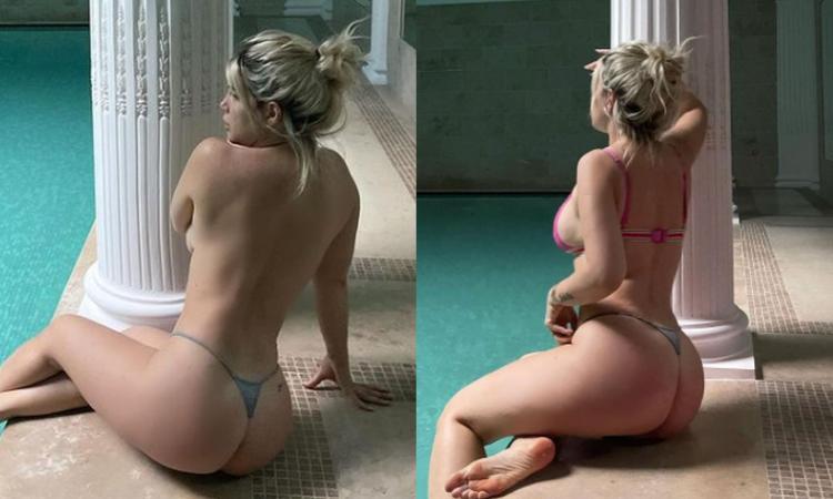 Topless e tanga, Wanda incendia la Spa e il web: 'Preferite la uno o la due?' FOTO
