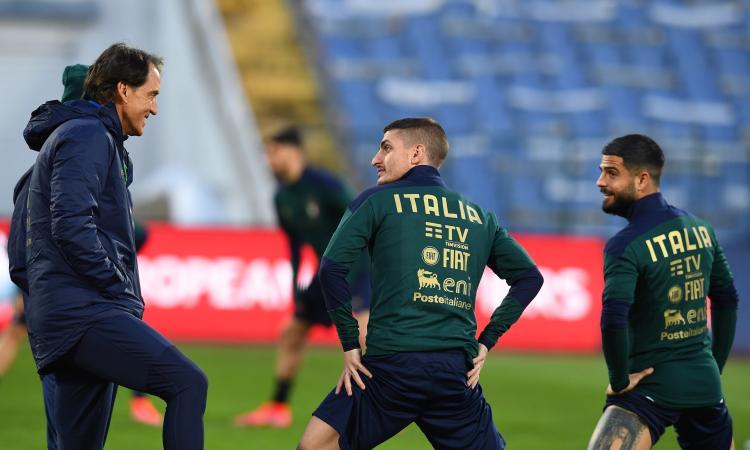 Italia, Verratti si allena a parte