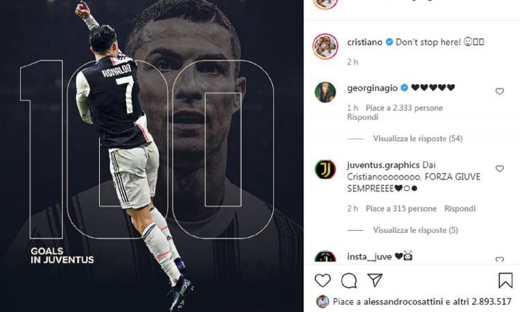 Ronaldo fa 100 con la Juve, messaggio social ai tifosi: 'Non mi fermo qui'. Indizio sul futuro?