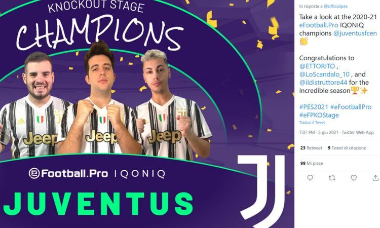 La Juve trionfa in Europa: vinta la 'Champions' di eFootball PES 2021
