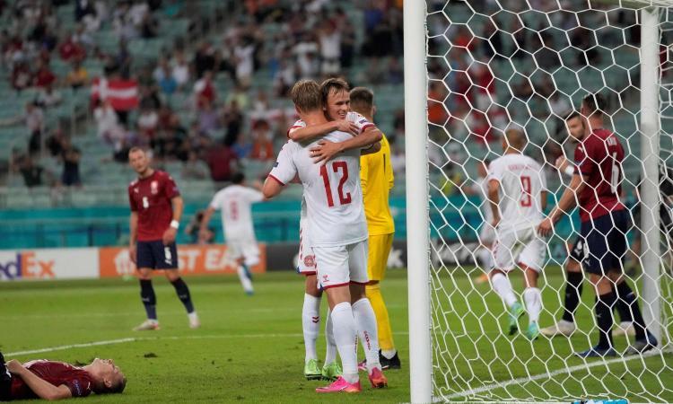 La Danimarca batte 2-1 la Repubblica Ceca e vola in semifinale dopo 29 anni. Schick aggancia Ronaldo, ma non basta