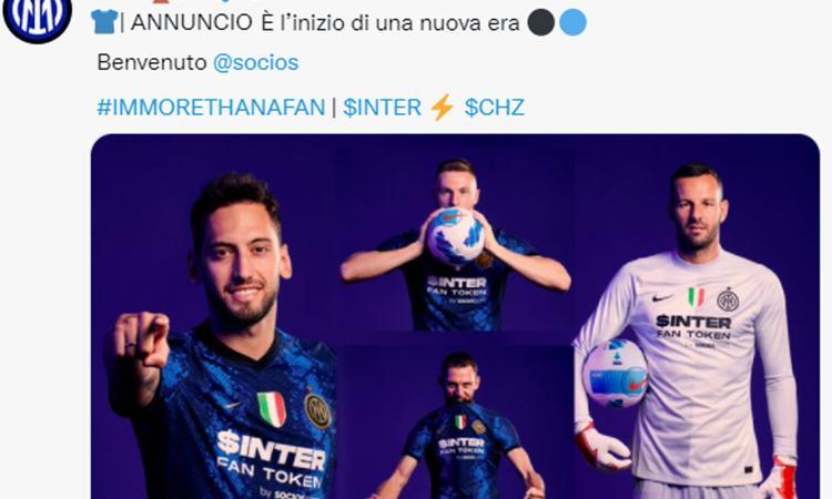 Inter, UFFICIALE: Socios è il nuovo sponsor. Sulla maglia la scritta 'fan token' FOTO