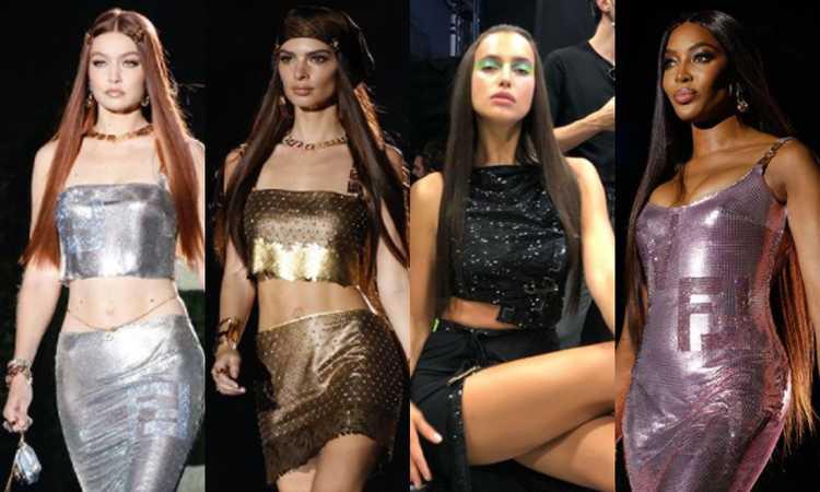 Che show per la segretissima sfilata Fendace. La fusion fra Fendi e Versace con Emily, Naomi, Irina e Gigi FOTO e VIDEO